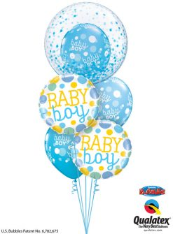 Bukiet 1185 Baby Boy Polka Dots and Confetti Qualatex #57789 55385-2 55988-3
