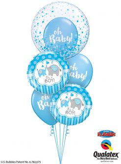 Bukiet 1186 Baby Boy Elephants and Confetti Qualatex #57789 45109-2 58118-2