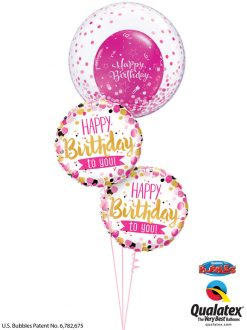 Bukiet 1181 Pink & Gold Confetti Birthday Bouquety Qualatex #57790 49170-2 25588