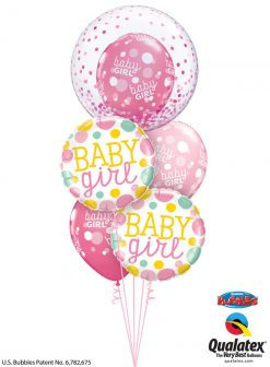 Bukiet 1184 Baby Girl Polka Dots and Confetti Qualatex #57790 55388-2 55987-3