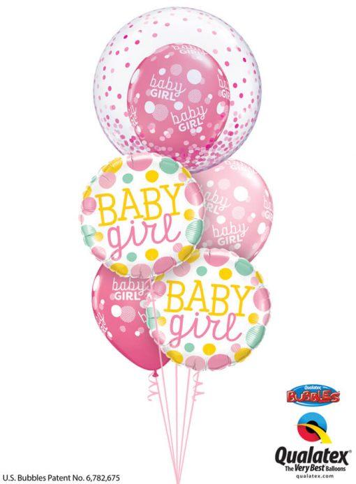 Bukiet 1184 Baby Girl Polka Dots and Confetti Qualatex #57790 55388-2 55987-3