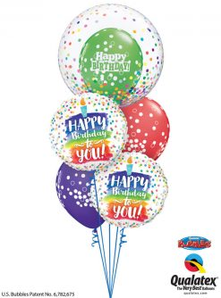 Bukiet 1183 Colorful Birthday Candle & Confetti Qualatex #57791 57298-2 52964-2