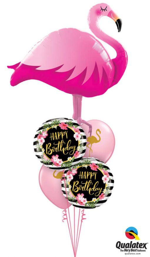 Bukiet 1179 Golden Floral Flamingo Birthday Qualatex #57807 57280-2 57554-2
