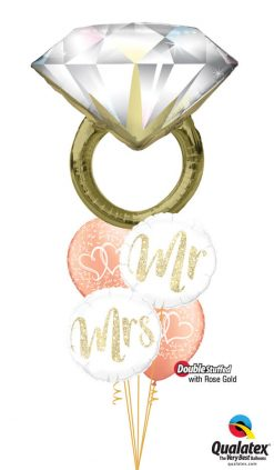 Bukiet 1176 Mr. & Mrs. Diamond Ring Qualatex #57819 57316 57313 37200-2 57211-2