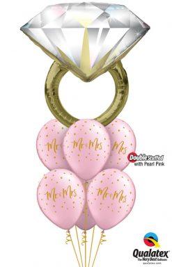 Bukiet 1171 Pearl Pink Mr. & Mrs. Diamond Ring Qualatex #57819 57777-6 43783-6