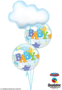 Bukiet 1214 Baby Boy Clouds, Stars, & Moon Qualatex #78553 23597-2
