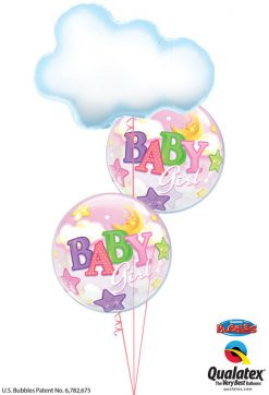 Bukiet 1215 Baby Girl Clouds, Stars, & Moon Qualatex #78553 23598-2