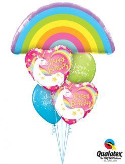 Bukiet 1207 Rainbows & Unicorns Birthday Qualatex #78556 57319-2 11983-2