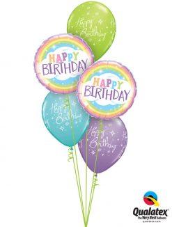 Bukiet 1205 Sorbet Birthday Rainbows Qualatex #78658-2 19166-3