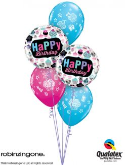 Bukiet 1228 Birthday Cupcakes Galore Qualatex #78669-2 31227-3
