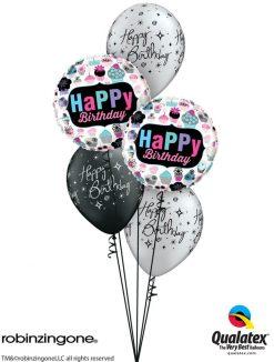 Bukiet 1229 Birthday Cupcakes, Stars, & Swirls Qualatex #78669-2 25235-3