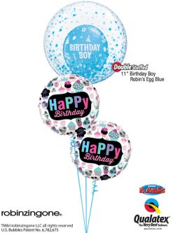 Bukiet 1220 Birthday Boy Confetti Bubble Qualatex #57789 78669-2 17920
