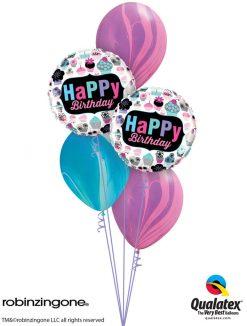 Bukiet 1227 SuperAgate Birthday Cupcakes Qualatex #78669-2 91544-3