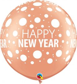 "30"" / 76cm Happy New Year Dots-A-Round Asst of Gold, Rose Gold Qualatex #80680-1"