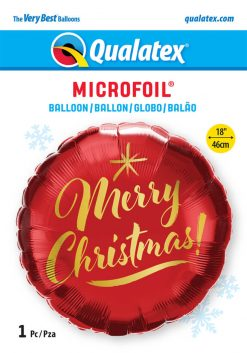 18″ / 46cm Christmas Gold Script Red Qualatex #89850