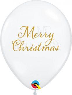 """11"""" / 28cm Simply Merry Christmas Asst of Diamond Clear Qualatex #97322-1"""