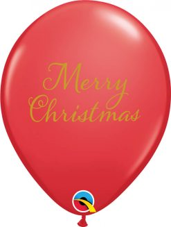 """11"""" / 28cm Simply Merry Christmas Asst of Red, Green Qualatex #97323-1"""
