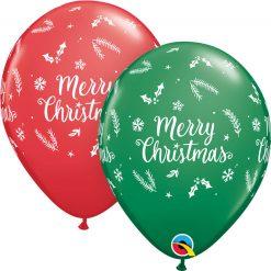 """11"""" / 28cm Christmas Evergreen Asst of Red, Green Qualatex #97348-1"""