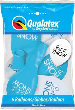 "12"" / 30cm 6szt Simply Let It Snow Asst of White, Robin's Egg Blue Qualatex #97491"