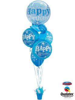 Bukiet 1145 Blue Sparkle Birthday Basket Qualatex #48433 37919-2 17936-2
