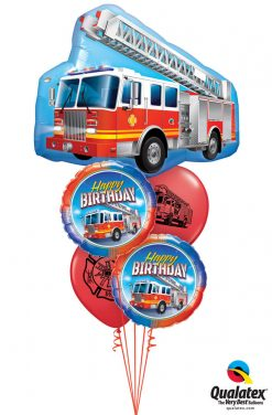 Bukiet 1253 Happy Birthday Firetruck Qualatex #16466 41686-2 86598-2
