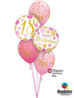 Bukiet 1292 Pink 'N' Gold 18 Qualatex #88175 49164 56844-3 43766-2 43791