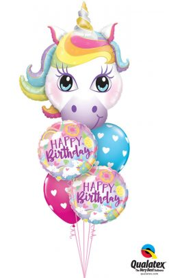 Bukiet 1263 Unicorns & Birthday Hearts Qualatex #57352 88010-2 78707-2