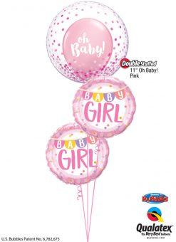 "Bukiet 1240 ""Oh, Baby!"" Pink Confetti Qualatex #57790 85851-2 58117"