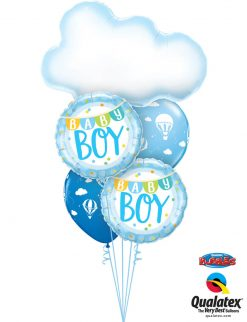 Bukiet 1236 Welcome Baby Boy Hot Air Balloon Qualatex #78654 85901-2 86560-2