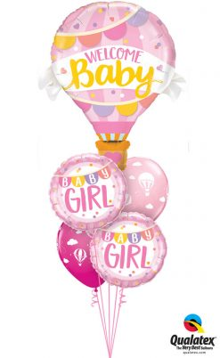 Bukiet 1238 Welcome Baby Girl Hot Air Balloon Qualatex #78656 85851-2 86559-2
