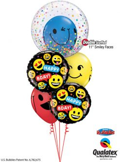 Bukiet 1260 Confetti Bubble Birthday Smileys Qualatex #57791 78718-2 85705-3