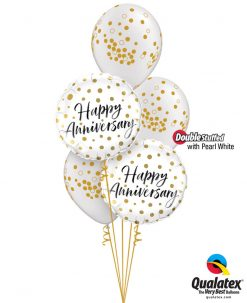 Bukiet 1245 Happy Anniversary Gold Dots Qualatex #85847-2 56844-3 43788-3