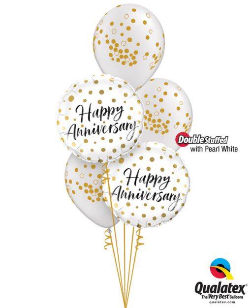 Bukiet 1245 Happy Anniversary Gold Dots Qualatex #85847-2 56844-3 43788-3