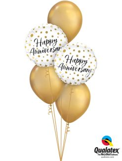 Bukiet 1247 Chrome™ Gold Happy Anniversary Qualatex #85847-2 58271-3