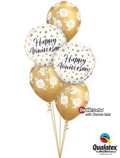 Bukiet 1246 Chrome™ Gold Roses Anniversary Qualatex #85847-2 85640-3 58271-3