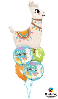 "Bukiet 1254 ""Loveable Llama"" Birthday Qualatex #85914 85905-2 86589-2"
