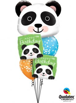 Bukiet 1269 Fuzzy-Wuzzy Birthday Pandas Qualatex #87946 87995-2 52964-2