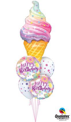 Bukiet 1266 Unicorns & Ice Cream Birthday Bash Qualatex #87951 88010-2 88217-2