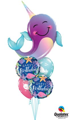 Bukiet 1270 Friendly Narwhal Birthday Qualatex #87956 87998-2 88401-2
