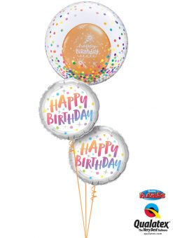 Bukiet 1284 Dazzling Birthday Rainbow Dots Qualatex #57791 87992-2 43059-1