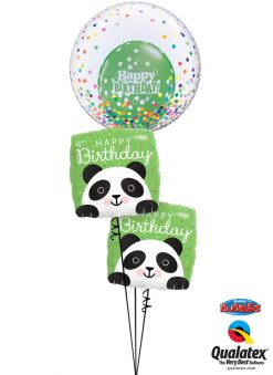 Bukiet 1285 Cute Confetti Peek-A-Boo Birthday Pandas Qualatex #57791 87995-2 52962-1