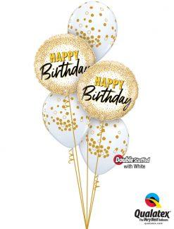 Bukiet 1279 Glittering & Glimmering Gold Birthday Table Topper Qualatex #88024-2 56844-3 43802-3