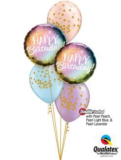 Bukiet 1277 Pearly Whirly Birthday Qualatex #88027-2 56844-3 43777-1 43782-1 43778-1
