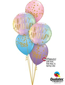 Bukiet 1276 Swirly Whirly Birthday Colors & Dots Qualatex #88052-2 56844-3 43766-1 43762-1 43754-1