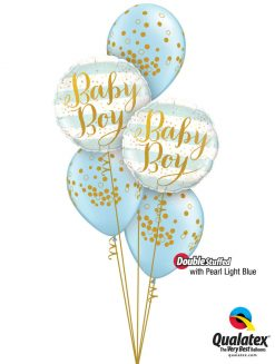 Bukiet 1290 Pearl Light Blue Baby Confetti Dots Qualatex #88001-2 56844-3 43777-3