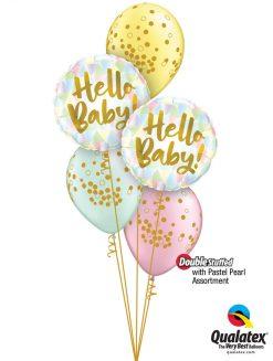 Bukiet 1287 Hello, Baby! Pastel Pearl Confetti Dots Qualatex #88007-2 56844-3 43755-3